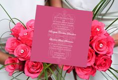 Royal Emblem Square invitation, personalized in custom pink. (CMYK: 0 80 20 0}