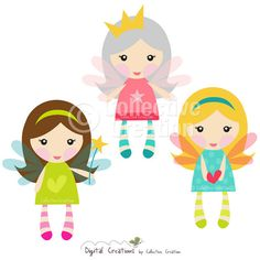 Little Fairy Girls Digital Clipart - Clip Art for Commercial and Personal Use - Card Making, Scrapbooking, Digital Invitations, the list is Fairy Clipart, Cute Clipart, Beautiful Drawings, Cute Drawings, Paper Dolls, Art Dolls, Cute Kids Pics, Digital Invitations, Cute Images