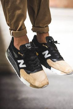 New Balance 998  | Tags: sneakers, low-tops, suede, black, tan, gold, on feet, brown cuffed pants, chinos