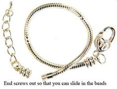 """Bracelet for Pandora Beads and charms by GlitZ JewelZ © - silver plated - Size 7.5"""" to 8.5"""" - fits all pandora / troll / chamilia beads - comes with a large Heart clasp GlitZ JewelZ. $9.99. Save 33%!"""