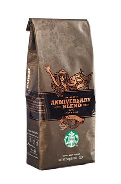 Really dig this Anniversary Blend packaging by Starbucks. Could probably stand to lose the bright green logo at the bottom - but hey, whadaygonnado?