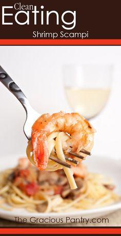 {Clean Eating Shrimp Scampi} Frozen shrimp, lemon juice, lemon zest, parsley, garlic powder (I'd prob. use minced garlic) olive oil & pasta
