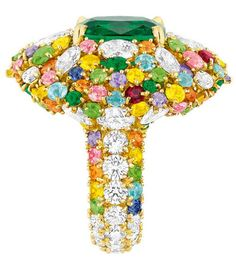 Cher Dior Fascinante Emerald ring ~  Victoire de Castellane's new colourful collection of Dior haute joaillerie is the stuff of fantasy.