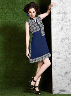 Navy Blue Georgette Printed Readymade Kurti 102694