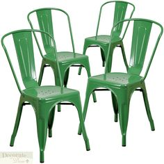 4 CHAIR SET GREEN Metal Stackable Indoor-Outdoor Lightweight Vintage Style New #FlashFurniture #VintageStyle