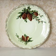 Pine Cone Saucer Vintage Green Norcrest Pinecone Pattern Fine China Plate