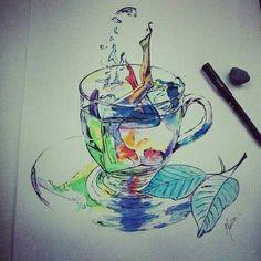 Watercolor art :  Fresh tea