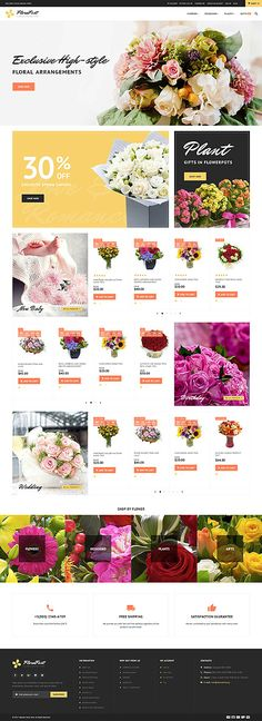 Seasonal Flowers Online Store #Magento #template. #themes #business #responsive #webshop #Magentothemes