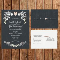 Printable Wedding Invitation Suite, Floral, Vintage, Chalkboard, Rustic, Woodland, Pink, White, RSVP Postcard