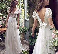 New Short Sleeve Wedding Dress Bridal Gown Party Prom Formal .- New Short Sleeve Wedding Dress Bridal Gown Party Prom Formal Gown Pageant Custom The front and this loop 😍 - Backless Wedding, Boho Wedding, Wedding Bride, Wedding Gowns, Short Sleeved Wedding Dress, Beige Wedding, Wedding Dress With Shawl, Wedding Dress Bow, Mermaid Wedding