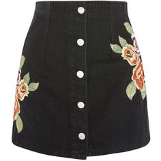 TopShop Moto Floral Button Denim Skirt (220 BRL) ❤ liked on Polyvore featuring skirts, mini skirts, bottoms, washed black, topshop skirts, button skirt, denim mini skirt, topshop mini skirt and denim skirt