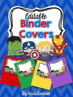 Super Hero Binder Covers & Spines *EDITABLE* from Erica Dodson on TeachersNotebook.com -  (22 pages)  - Super Hero teacher Binder Covers & Spines *EDITABLE* in chevron or stripes