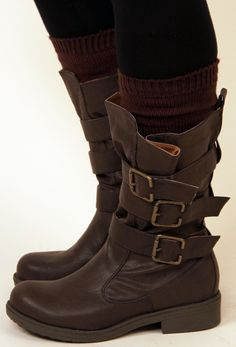 Triple Buckle Burnish Boot - Brown