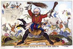 Old Blucher beating the Corsican Big Drum, George Cruikshank, 8 april 1814- En 1813, à la tête d'un corps prussien, Blücher prend part aux batailles de Lützen et de Bautzen, il commande l'armée de Silésie avec laquelle il bat Macdonald sur la Katzbach (26 aout) puis est nommé maréchal après la bataille de Leipzig (oct). Lors de l'invasion de la France en 1814 il subit une série de revers en février: Champaubert, Montmirail, Château-Thierry, Vauchamp.