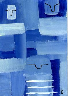 """3.5"" e9Art ACEO Abstract Figurative Family Outsider Folk Art Brut Painting One-of-a-Kind Original"