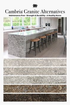 Love the look of granite but not the upkeep? These five stunning Cambria designs offer beautiful movement and tones that reflect the earthy warmth of granite. These durable granite alternative countertops are stain resistant and nonporous. Cambria never r Kitchen Redo, Home Decor Kitchen, Interior Design Kitchen, Kitchen Remodel, Kitchen Tips, Kitchen Ideas, Kitchen And Bath Remodeling, Home Remodeling, Cambria Countertops