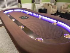 World Of Mysteries: Luxury Poker Dining table Poker Table Diy, Gaming Table Diy, Poker Table Plans, Custom Poker Tables, Diy Table, Dining Table, Roulette Table, Casino Table, Luxury Pools