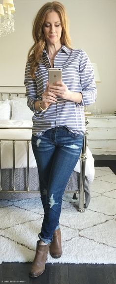 Six Casually Classic Looks for Spring / Jones Design Company - striped button up, jeans, booties