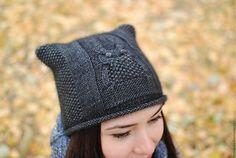 Шапка вязаная спицами  шапка тонкая шапка вязанная шапка весенняя шапка осенняя шапочка  пуховая шапочка вязаная спицами шапочка вязанная шапочка легкая шапочка котошапка шапка с ушками