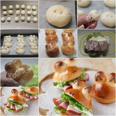 How to Make Mini Frog Sandwich With Ham and Cheese tutorial and instruction. Follow us: www.facebook.com/fabartdiy