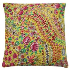 Yellow Kantha Cushion Cover With Floral Pattern Cushion Cover Designs, Sofa Cushion Covers, Bold Jewelry, Perfect Pillow, Furniture Inspiration, Decorative Pillows, Floral Prints, Cushions, Couch