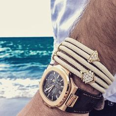 Men's Jewelry Trends 2015 - the biggest breakout star is the mangle or man bangle, plus leather cuffs and bracelets to add to a luxury watch Trendy Watches, Boys Watches, Luxury Watches For Men, Gold Bracelet For Women, Rolex Day Date, Patek Philippe, Beautiful Watches, Leather Cuffs, Vintage Watches