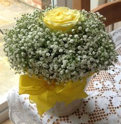 Yellow rose and Gypsophelia wedding table arrangement Wedding Table, Our Wedding, Table Arrangements, Yellow Roses, Table Decorations, Party, Home Decor, Desk Arrangements, Homemade Home Decor