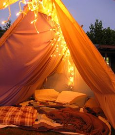 Romantic backyard glam-ping for our anniversary! Tent, lights, backyard camping