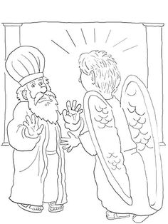 coloring page zacharias with angel