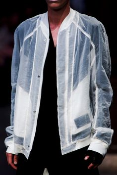 Milky translucent baseball jacket. Julius S/S 16 #bomber #menswear