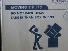 Do not pack items larger than box in box