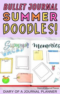 Make your summer spreads look incredible with these adorable bullet journal summer doodles! #doodles #bulletjournaldoodles Bujo Doodles, Love Doodles, Simple Doodles, Bullet Journal Travel, Bullet Journal Art, Art Journal Pages, Happy Birthday Doodles, Travel Doodles, Flower Drawing Tutorials