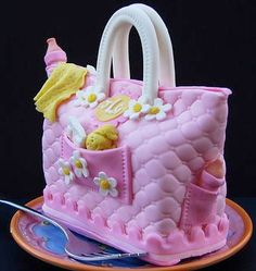 baby shower diaper bag cake