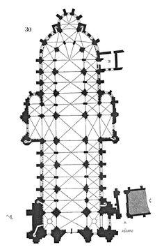 Grundriss der Kathedrale von Sens frühgotische dreischiffige Basilika (ab 1140/45) mit später ergänztem Querhaus
