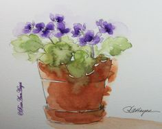 Purple African Violets Original Watercolor Painting Floral