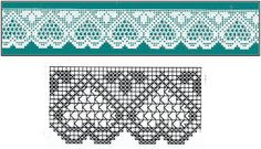 Filet häkeln Crochet border edging motif Diagram only - Click on pic to make it bigger