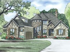 025H-0292: Luxury European House Plan Looks Like a Castle no stone on the turret   Great layout