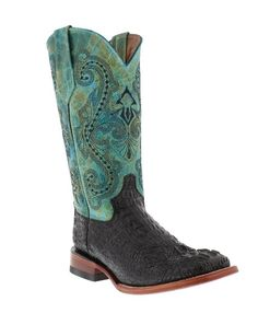 "Ferrini Women's 12"" Teal - Black Caiman Tail Print Stockman Western Boots They have a square toe, double stitched welt and a 12"" inch shaft. Other features include a leather outsole and lining and an orthopedic cushioned foot bed. 