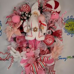 Red Candy, Candy Cane, Ribbon Candy, Wired Ribbon, Christmas Ribbon, Santa Christmas, Christmas Wreaths, How To Make Wreaths, Crafts To Make