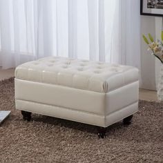 $110 31 x 18.5 Shop for Luxury Comfort Collection Classic Creamy White Tufted Storage Bench Ottoman. Get free shipping at Overstock.com - Your Online Furniture Outlet Store! Get 5% in rewards with Club O! - 15733728