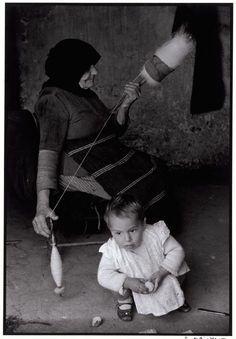 "Constantine Manos :: GREECE. 1964. Crete. Grandmother carding wool. ""A Greek Portfolio"""