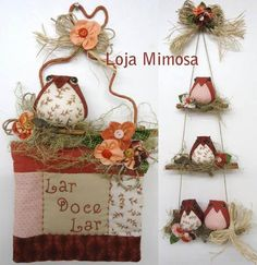 Projeto do Panô e Móbile de Corujinhas Sewing Crafts, Sewing Projects, Projects To Try, Diy And Crafts, Arts And Crafts, Thanksgiving Diy, Grapevine Wreath, Hand Embroidery, Quilts