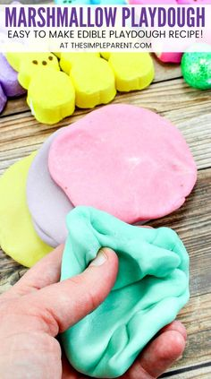 PEEPS Marshmallow Playdough - This edible playdough recipe is one of our favorite activities for kids! We use Easter PEEPS to make it without coconut oil and without cornstarch. Learn how to make easy playdough and have sensory play fun with your kids this year!