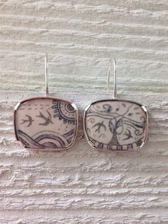 Bird earrings silver bird earrings swallow jewellery enamel