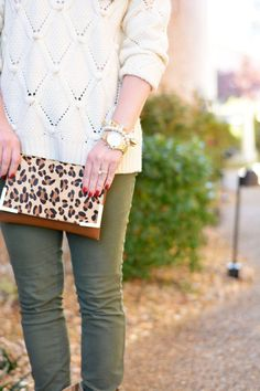 Chunky knit sweater, leopard clutch, army green pants