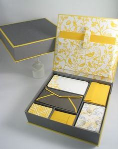 yellow-and-gray stationary