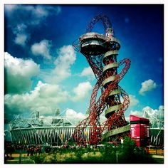 London Olympics 2012, view over Olympic Park and Anish Kapoor's ArcelorMittal Orbit.