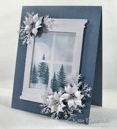 Blue Poinsettia Winter's Night by - Cards and Paper Crafts at Splitcoaststampers Homemade Christmas Cards, Homemade Cards, Christmas Crafts, Handmade Christmas, White Christmas, Christmas Tree, Crochet Christmas, Christmas Angels, Xmas Cards