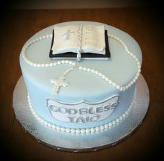 My Christening cake for boy with rosary and Bible. Made by Angies Kitchen