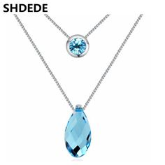 Fashion Blue Crystal Water Drop Pendant High Quality Crystal from Swarovski Multilayer Necklace Women Jewelry 21460
